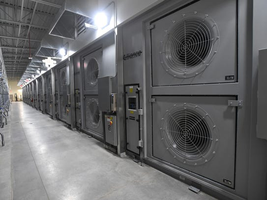 The back side of the filter bank in a mixing room at Apple's Reno data center.