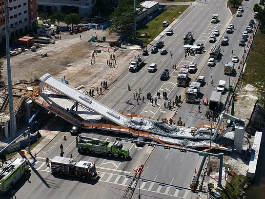 This photo provided by DroneBase shows the collapsed