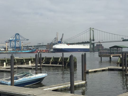 A boat rests at a slip at Gloucester City's marina on the Delaware River waterfront.