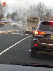 A FedEx truck caught on fire Wednesday afternoon in