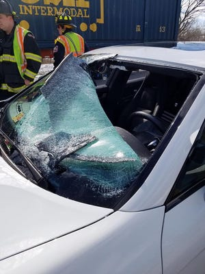 A vehicle was damaged and its three occupants injured by flying ice during Winter Storm Stella on Interstate 83 in York Township in 2017.