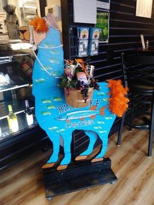 The Blue Pike Cantina created a blue llama for the Marine City Llama Races.