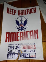 Danielle Pendergrass said she found this poster on a tree outside Esquire Bar in Lansing's Old Town neighborhood on Sunday, February 17, 2019. The poster lists a website for Patriot Front, a white supremacist organization.