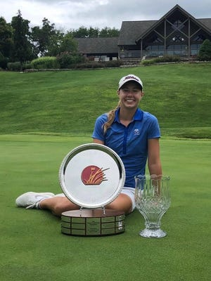 Topekan Rachel Stous poses with the hardware after capturing the 2020 Prairie Invitational championship on Wednesday at Shadow Glen Golf Club in Olathe. Stous started the final round six shots off the lead, but posted a 3-under 69 to win by two shots.