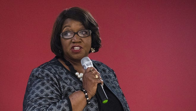District Six candidate Claudia Thomas Mitchell speaks during the Montgomery Coiunty School Board of Education meet the candidates forum in Montgomery, Ala. on Tuesday May 1, 2018.