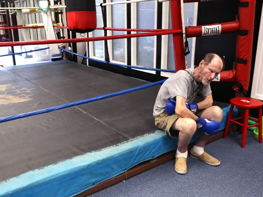 Tom Nier takes a break from boxing at the Corpus Christi
