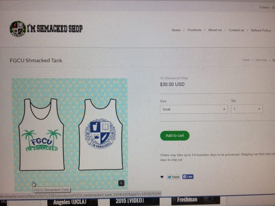 Screen shot from I'm Shmacked website promoting FGCU tank tops