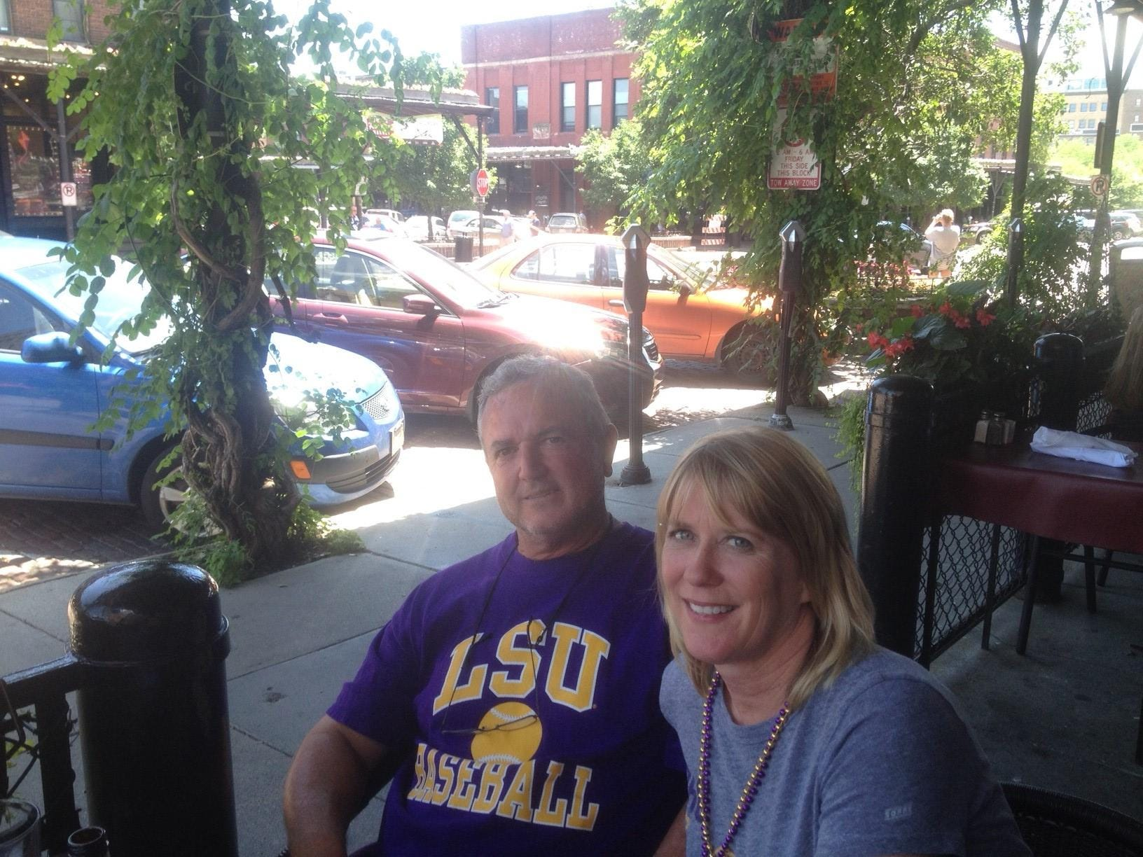 Rusty Ratcliff and wife Donna Ratcliff of St. Joseph, La., enjoy lunch at M's Pub in Old Market in Omaha Wednesday.