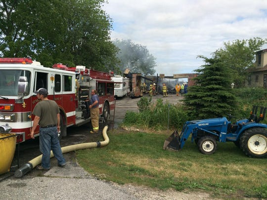 A garage at 8715 Hwy. 42 in Newton is a total loss