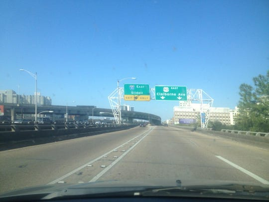 This I-10 East overpass over Claiborne Avenue is where LSU tailback Leonard Fournette spent four nights and five days with his family in the days following Hurricane Katrina, which hit the New Orleans area 10 years ago Saturday.
