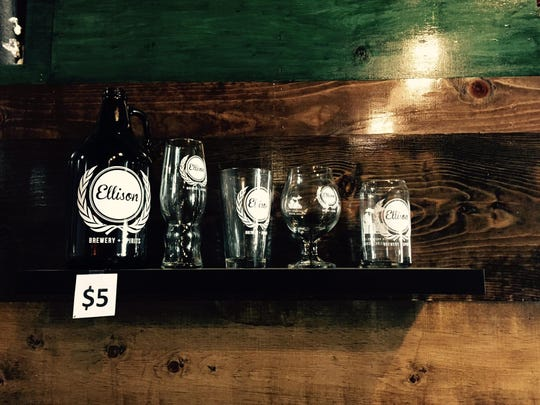 Glassware and growlers on display at Ellison Brewery & Spirits.