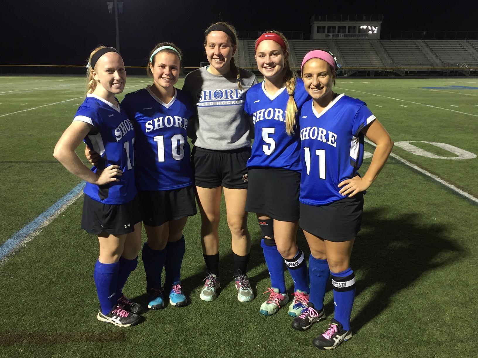 The Shore Regional field hockey senior class. From L-R (Julianne Hurley, Reese Collin, Sarah Dwyer, Jessica Welch, Annie Deusch).
