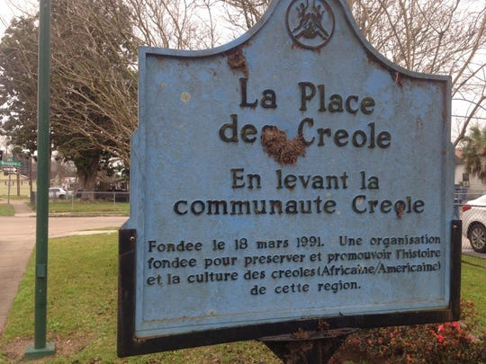 The Lafayette Street plaque celebrating Creole history and culture.