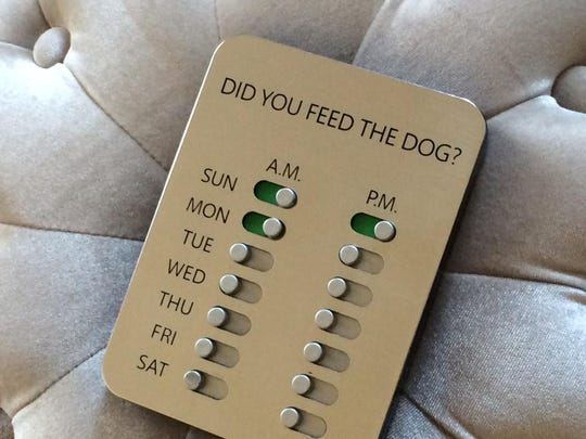 Did You Feed the Dog, or DYFTD ($9.95) helps the busy family that has trouble keeping track of Fido's feeding schedule.