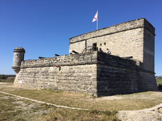 Fort Matanzas was built by the Spanish, designed to protect the city from invaders sailing through the Matanzas Inlet. Built by convicts, slaves and soldiers, the fort towers 50-feet high with a 30-foot tower, and has coquina walls. It was a remote outpost where men served duty one month at a time.