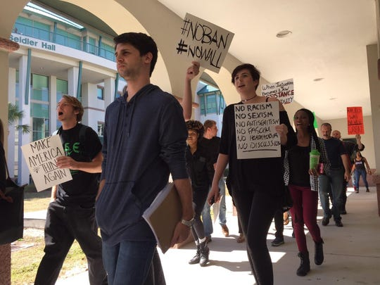 About 50 Florida Gulf Coast University students protested