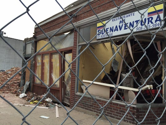 Mi Buenaventura Restaurant was destroyed by falling rubble from 117-125 North Ave., Plainfield.