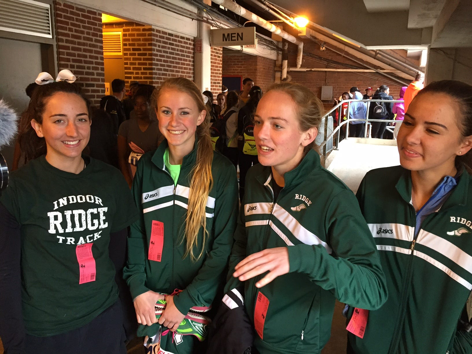 Ridge's 4x800 runners (left to right) Abby Regner, Emily Hirsch, Kelly Van Baalen and Liz Newman after Thursday's qualfying heat.