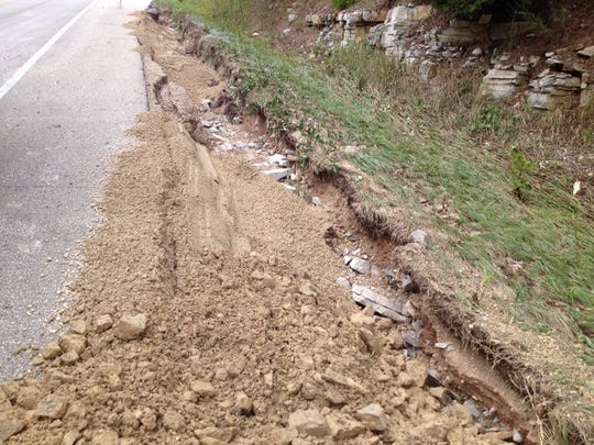 Fast-flowing water washed away the ground along Wisconsin 42 between Fish Creek and Ephraim.