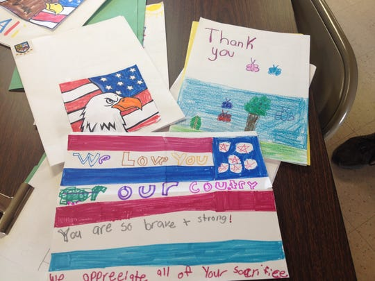 Cards made by Southern Door second-graders for the Old Glory Honor Flight.