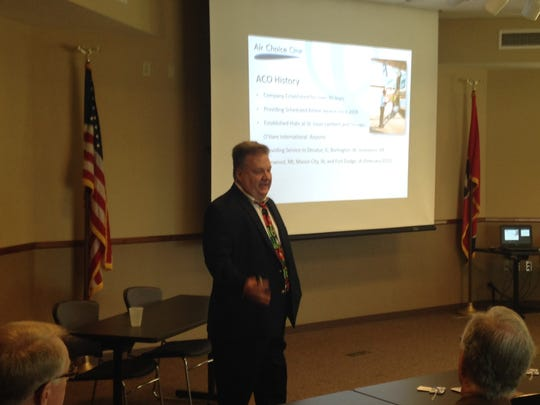 Shane Storz presents to members of the Airport Authority Board and the Jackson Chamber of Commerce on Monday afternoon in hopes of getting Air Choice One Airlines selected as Jackson's new provider.