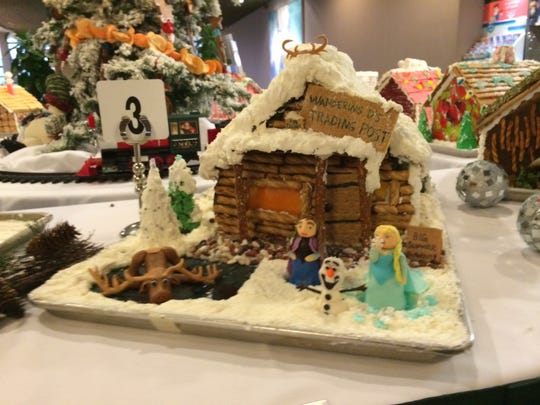 One of 12 gingerbread houses on display in the Gingerbread