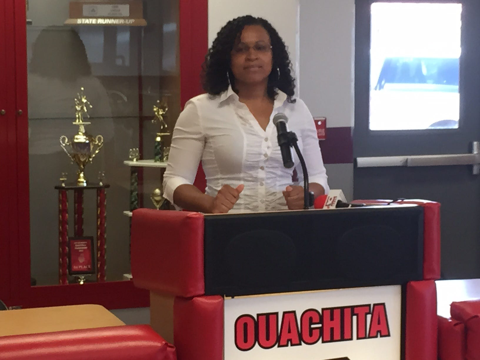 Amber Obaze-Ford was introduced as Ouachita's new girls basketball coach on Friday afternoon in the Slusher Lobby. She met with her new team afterwards.