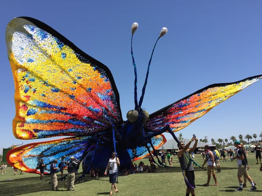 "The art installation ""Papilio Merraculous"" is a giant caterpillar that underwent a weekend-long metamorphosis into a butterfly during Weekend 1 of the Coachella Valley Music and Arts Festival in Indio."