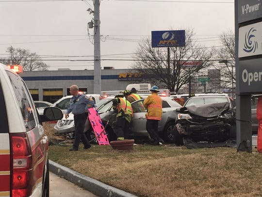 Emergency crews took two injured drivers to Christiana Hospital after this two-vehicle crash Thursday afternoon at Kirkwood Highway and Limestone Road.