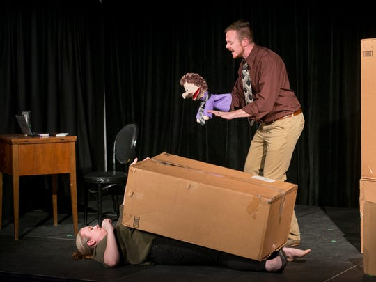 Denley Messerly, bottom, and Marshall Corzette rehearse