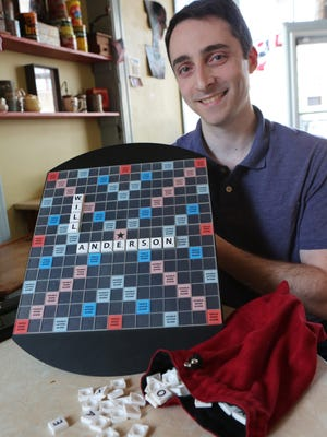Will Anderson of Croton, one of the nation's best Scrabble players, with his Scrabble board at the Peekskill Coffee House.