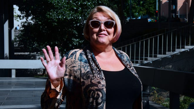 Samantha Geimer outside courthouse in Los Angeles, on June 9, 2017, before she urged a judge to end the 40-year-old rape case against director Roman Polanski.