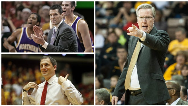 Iowa coach Fran McCaffery (right) is the state's top-compensated college basketball coach, with a total earning potential (total pay plus available max bonus) of $2,807,156 for the 2015-16 season. Iowa State's Steve Prohm ($2,125,000) is second and Northern Iowa's Ben Jacobson ($1,263,000) is third.
