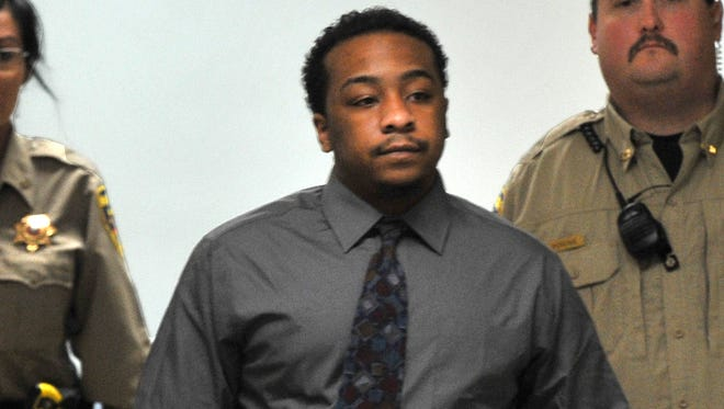 Willie Hervey, whose trial was postponed until January on Monday, is escorted from the 89th District Court by Wichita County deputies. Though it wasn't immediately clear why the trial was delayed, Hervey's legal team filed a request to review state evidence last week, which could include audio or video statements, photographs and other evidence. In another filing, the state informed Hervey's lawyers that it intends to introduce his past convictions, including assault, evading arrest and unlawful carrying of a weapon -- at trial. Filings did not indicate what the new trial date would be. Hervey is accused of shooting Mark Austin Hawkins in April, 2014.