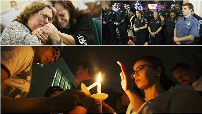 Scenes from a community prayer service Thursday at the Dunbar Community School in Fort Myers. More than 150 people attended the vigil held in remembrance of Fort Myers homicide victims.