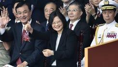 Taiwan President Tsai Ing-wen, center.