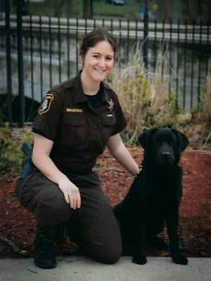 K9 Skyler is pictured with St. Joseph County Corrections Officer Bryanna Bradford.