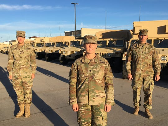 Leaders from the 86th Expeditionary Signal Battalion are from left, Capt. Victoria Bodner, Lt. Col. Nicole Vinson and Command Sgt. Maj. Michael Conaty. They are preparing the battalion to deploy to Europe this spring.