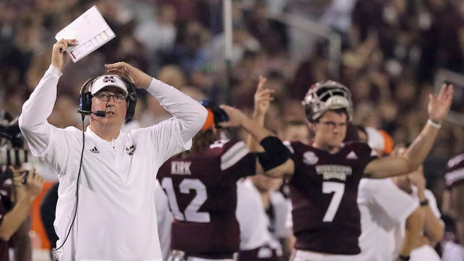 Mississippi State head coach Joe Moorhead and senior quarterback Nick Fitzgerald have been perplexed by the Bulldogs' ineptitude on offense this season.