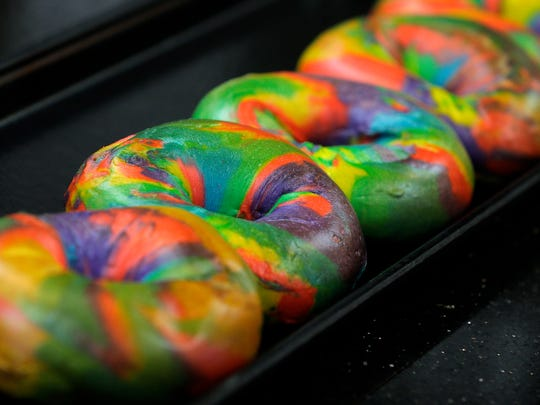 Gem's Bagels, the 6th and newest location of this 20+-year-old family-owned business and the first to operate as a franchise, sell trays of rainbow bagels in the Union Square Shopping Center in Middletown, NJ Wednesday January 18, 2017.