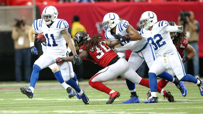 Indianapolis Colts wide receiver Quan Bray (11) breaks through the Falcon's defense during the first half of an NFL football game Sunday, Nov. 22, 2015.