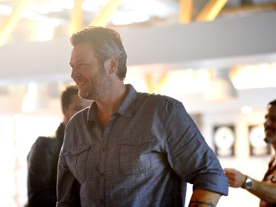 Blake Shelton takes a break from filming his part for the 2017 series of The Voice. Monday Jan. 16, 2017, in Los Angeles , Calif.