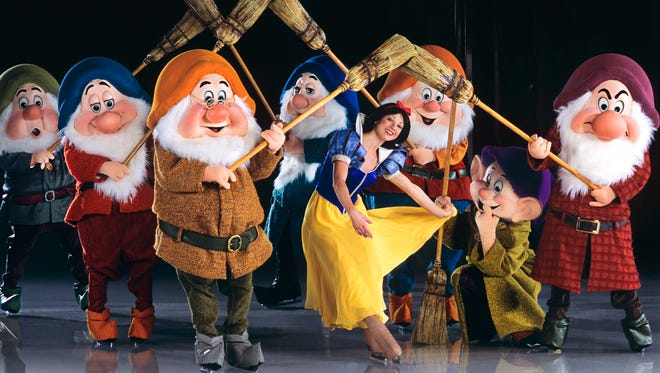 Hi-ho, hi-ho, it's onto the ice they go for Snow White and the Seven Dwarfs.