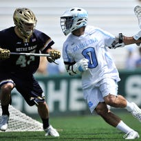 Steve Pontrello, right, had four goals and two assists in North Carolina's win over Notre Dame.