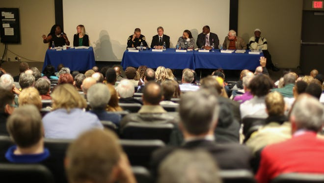 More than 200 Des Moines area citizens showed up to hear a public conversation on race issues during a panel on racial profiling in Iowa on Tuesday, December 7, 2015, at Sussman Theater on the campus of Drake University in Des Moines.