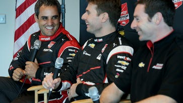Team Penske's Juan Pablo Montoya,left, Will Power and Simon Pagenaud,right, share a laugh during the IndyCar Series media day Tuesday, February 17, 2015, morning at the Indianapolis Motor Speedway.