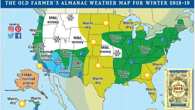The Old Farmer's Almanac weather map for the winter of 2018-19. Note the cold and snowy forecast for most of Arizona.