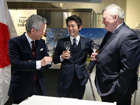 From left, Sakurai, chairman, Kazuhiro Sakurai, president