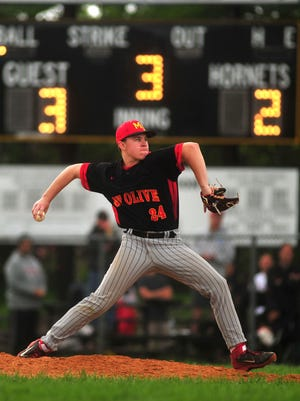 Mount Olive pitcher Greg Helmlinger has a 5-1 record this season.