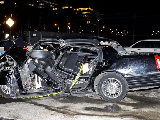A car remains on the scene of an accident in New York,